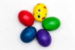 Five Eggs. Five Eastern eggs painted of different colors Stock Photography