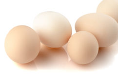 Five eggs on white Royalty Free Stock Image