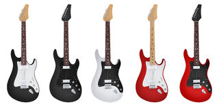 Five Electric-guitar isolated. Five guitar electric guitar (done in 3d rendering Royalty Free Stock Photos