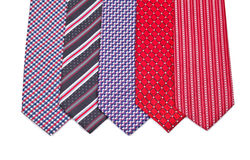 Five elegant silk male ties (necktie) on white Royalty Free Stock Photo