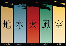 Five Elements. Illustration for asian five elements Royalty Free Stock Photos