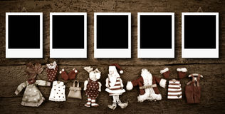 Five empty Christmas photo frames card Stock Photos