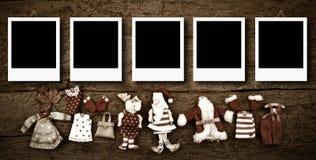 Five empty Christmas photo frames card Stock Photos