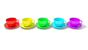 Five empty coffee cups aligned with rainbow colours Stock Images