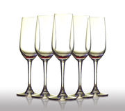 Five empty glass. Stock Photos
