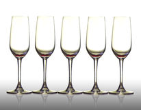 Five empty glass. Royalty Free Stock Photography