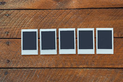 Five empty instant photo frames Royalty Free Stock Photography
