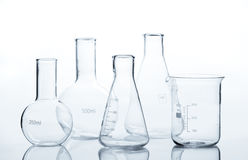 Five empty laboratory flacks Stock Photos