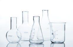 Five empty laboratory flacks stock photos