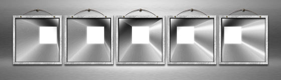 Five Empty Metal Frames Royalty Free Stock Photos