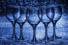 Five empty wineglass Stock Photo