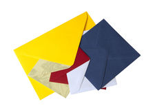 Five envelopes in different colors and sizes Stock Photos
