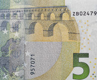 Five Euro banknote closeup Royalty Free Stock Image
