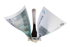 Five euro banknote and fork. Royalty Free Stock Photo