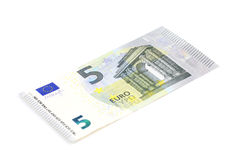 Five euro banknote on white background Stock Photo
