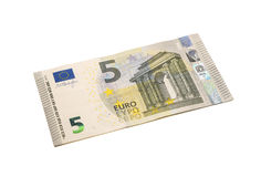 Five euro banknote on white background. Royalty Free Stock Photography