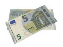 Five euro banknotes. Backside view and frontside view of the new five euro banknote Royalty Free Stock Photography