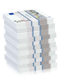 Five euro banknotes stacks Royalty Free Stock Image