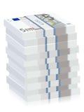 Five euro banknotes stacks Royalty Free Stock Image