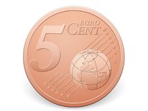 Five euro cent coin. On a white background Royalty Free Stock Photo