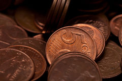 Five euro cents coins. Background Royalty Free Stock Images