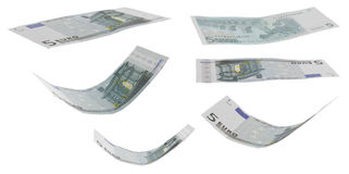 Five euro greenback. There is some five euro greenback in various positions Stock Photography
