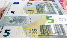 Five Euro money background Stock Photos