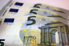 Five euro notes Stock Photos