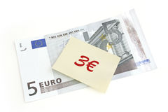 Five euro with post-it note. World financial crisis Stock Images