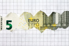 Five Euro in squared paper frame Stock Images