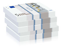 Five euro stacks Stock Photography