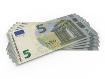 Five euros banknotes array Royalty Free Stock Photography