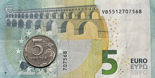 Five euros, five rubles. Stock Photography