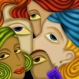 Five faces. Abstract design with five faces Stock Photography
