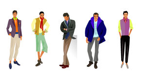 Five fashionable guys Stock Photography