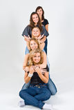 Five Female Friends Playing Stock Photography