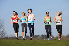 Five Female Runners Training For Race Royalty Free Stock Images