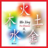 Five Feng Shui Elements Set Stock Images