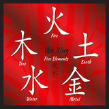 Five Feng Shui Elements Set. Chinese Wu Xing symbols. Translation of chinese hieroglyphs- wood, fire, earth, metal, water Stock Image