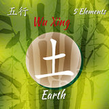 Five Feng Shui Elements Set. Chinese Wu Xing symbols. Translation of chinese hieroglyphs- wood, fire, earth, metal, water Stock Photos