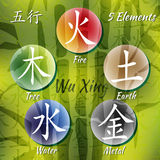 Five Feng Shui Elements Set Stock Photography
