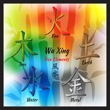 Five Feng Shui Elements Set. Chinese Wu Xing symbols. Translation of chinese hieroglyphs- wood, fire, earth, metal, water Stock Photo