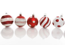 Five Festive Christmas Baubles Stock Photo