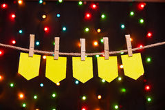 Five festive flags. On the background of colored lights Royalty Free Stock Photos
