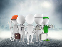 Five figures of man on grey and white Stock Photography