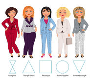 Five Figures in trousers and jackets. Recommended styles of daily clothes for 5 types of female figures: hourglass, triangle, rectangle, round and inverted Royalty Free Stock Images