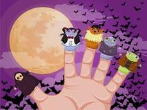 Five finger monsters halloween. Vector Stock Image
