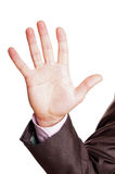 Five finger sign. A suited man holding a five finger sign on white background Royalty Free Stock Photo