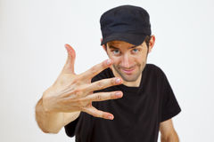 Five fingers. A Man is presenting you five Fingers Stock Photography