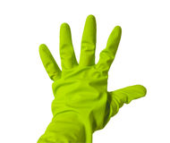 Five fingers in green vinyl glove Royalty Free Stock Photography